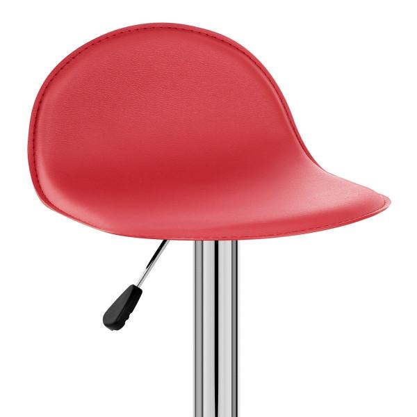 Sgabello Ecopelle Cromato - Cap Rosso