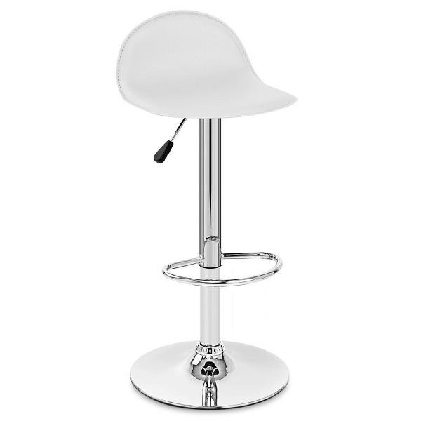 Sgabello Ecopelle Cromato - Cap Bianco