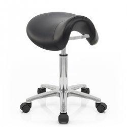 Sgabello con rotelle Ecopelle Cromato - Deluxe Saddle