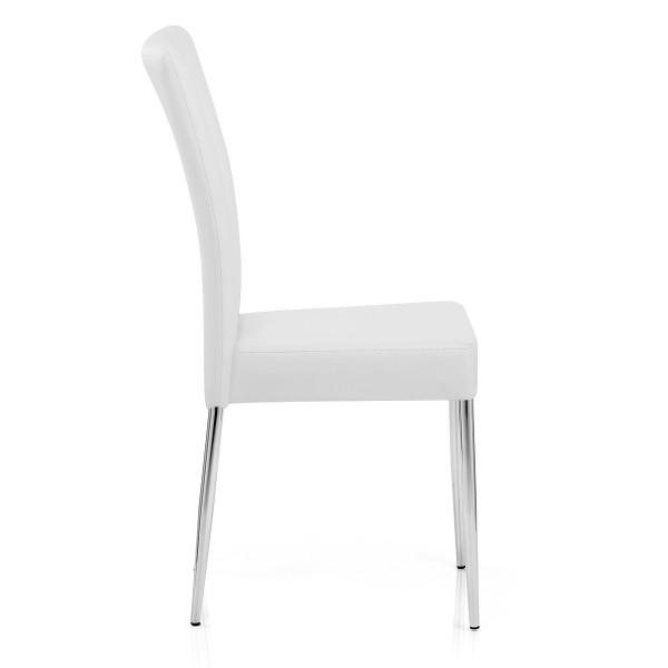 Sedia da pranzo Ecopelle Cromato - Picasso Bianco