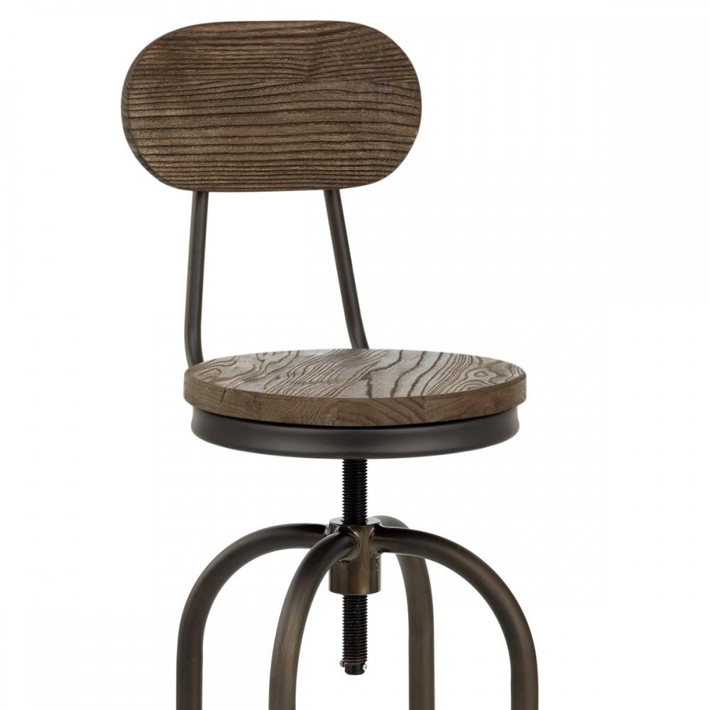 Souvent Sgabello da bar Vintage Swivel in Legno ed Acciaio brunito XG46