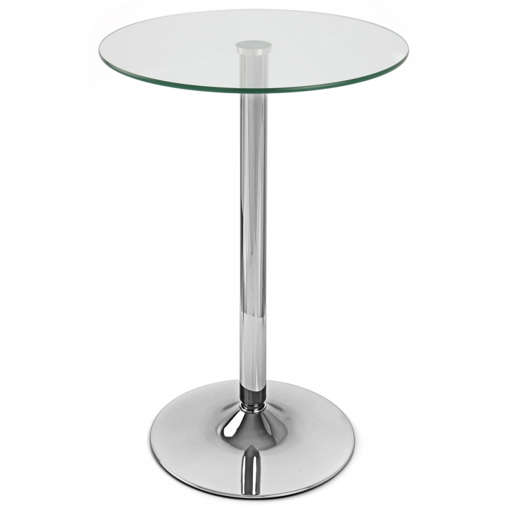 Tavolo cromato da bar Vetro